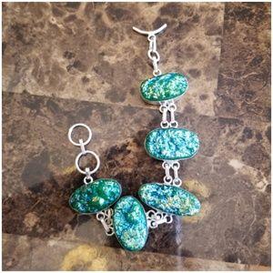 """Jewelry - Green Titanium Druzy Bracelet 8"""""""